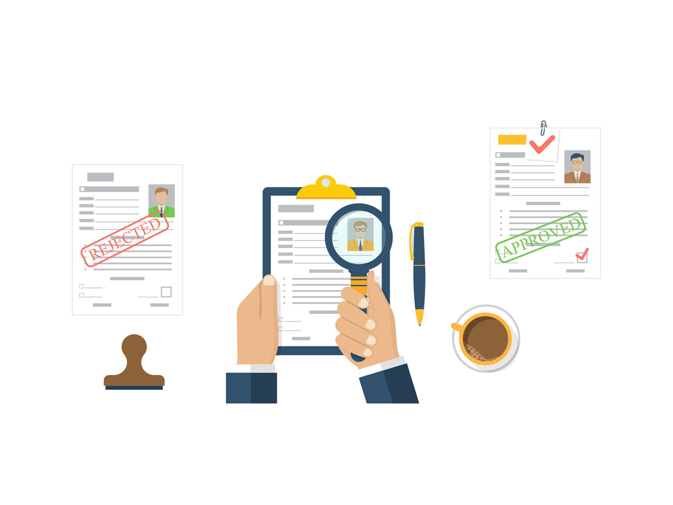magnifying glass inspecting simple resumes
