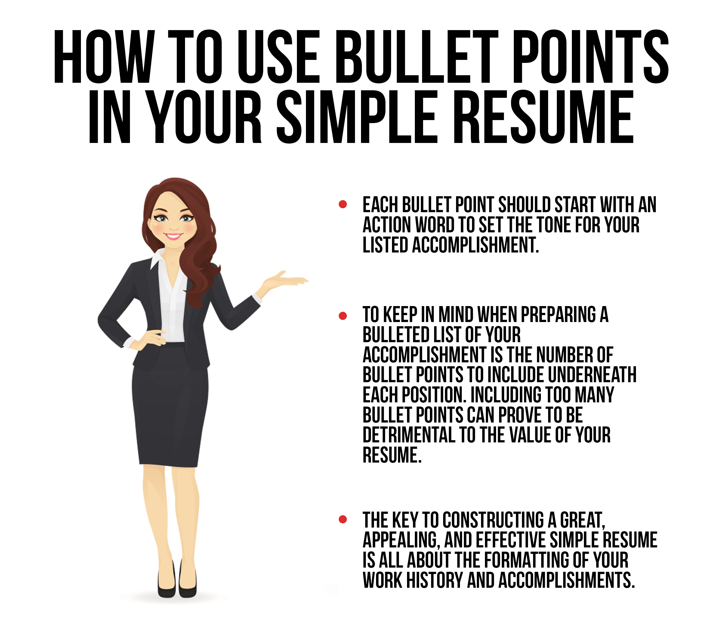 woman tells how bullet points should be formatted and used in a simple resume format