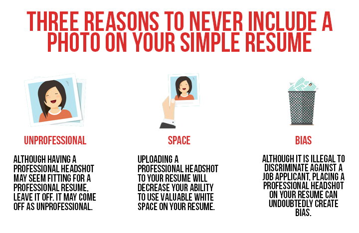 reasons why you should never include a photo in a simple resume